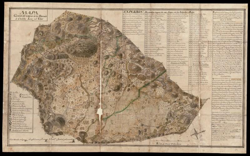 Mapa de 1770 del término de la Baronía de Chulilla, Losa y el Villar.