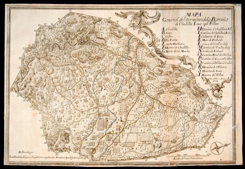 Grabado de la Baronía de Chulilla 1772